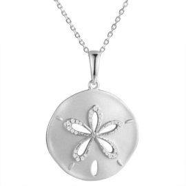 14kt white gold .15ctw diamond brushed texture sand dollar pendant