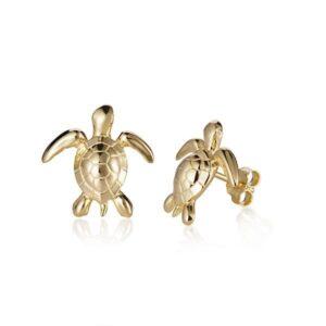 14kt yellow gold sea turtle post earrings