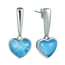 ss heart shape larimar gemstone dangle earrings