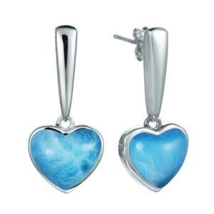 ss heart shape larimar gemstone dangle earrings