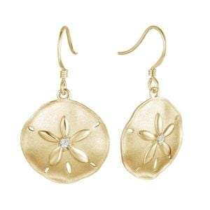 14kt yellow gold .05ctw diamond brushed texture sand dollar dangle earrings