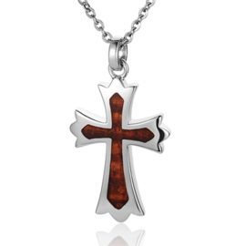 sterling silver hawaiian koa wood cross pendant