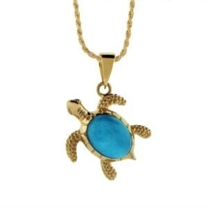 14kt yellow gold larimar gemstone turtle pendant