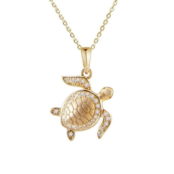 14kt yellow gold .14ctw diamond turtle pendant