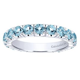 14kt Blue Topaz Stackable Band