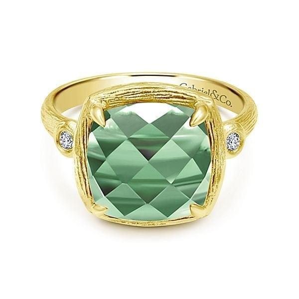 14kt Green Amethyst & .04ctw Diamond Ring