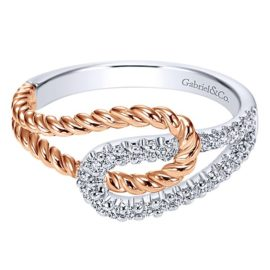 14kt Two Tone .20ctw Diamond Cable Ring