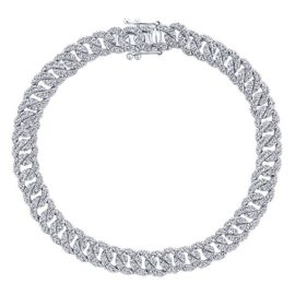 14kt 3.50ctw Diamond Curb Link Tennis Bracelet