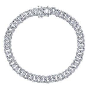 14kt 3.50ctw Diamond Curb Link Tennis Bracelet