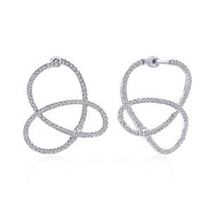 14kt .74ctw Diamond Intricate Twisted Hoops