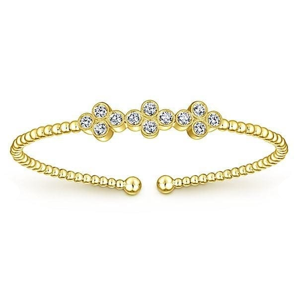 14kt .61 ctw diamond trio florets bangle