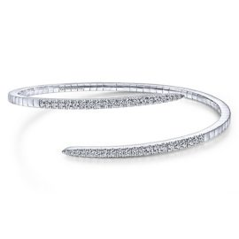 14kt white gold .93ctw diamond split bypass bangle bracelet