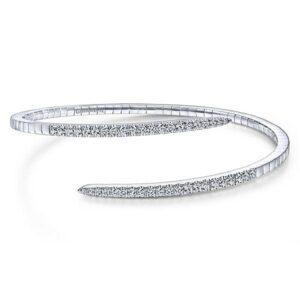 14kt white gold .93ctw diamond split bypass bangle bracelet