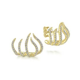 14kt yellow gold .58ctw diamond flame earrings