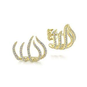 14kt yellow gold .58ctw diamond flame earrings