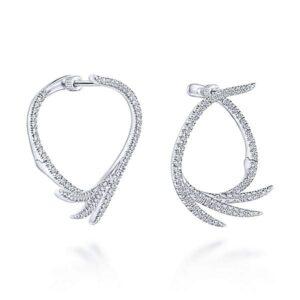 14kt white gold .72ctw diamond fan hoop earrings