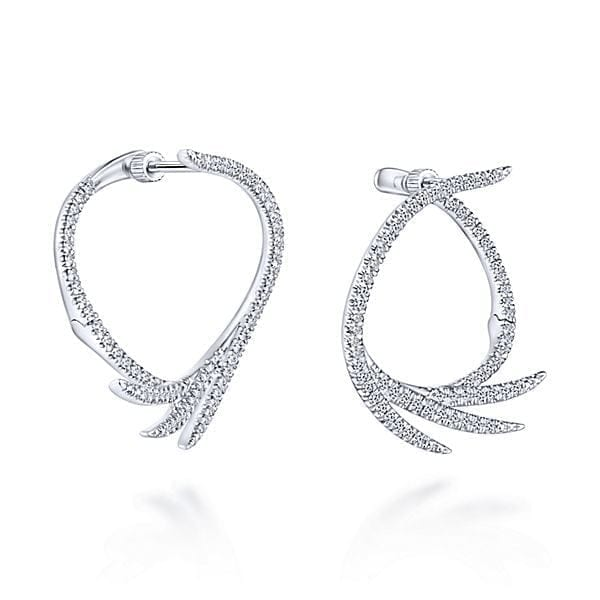 14kt white gold .72ctw diamond fan hoop earrings