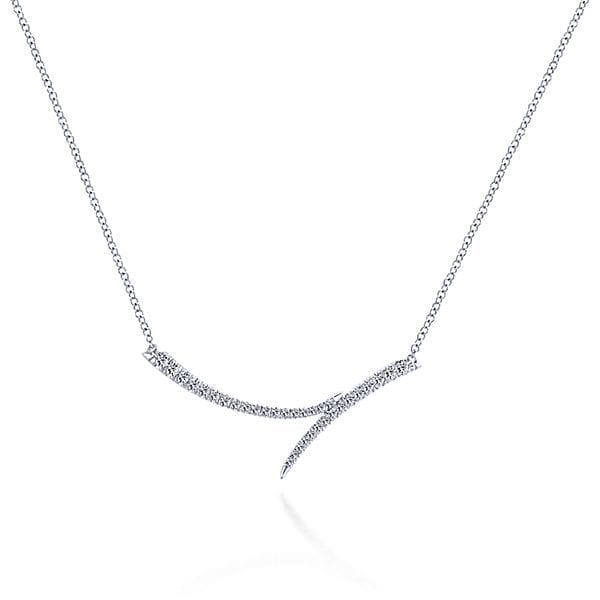 14kt white gold .23ctw diamond curved double bar necklace