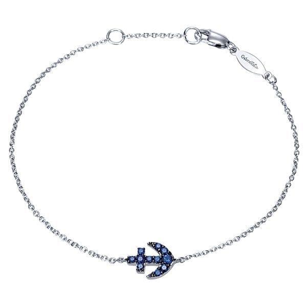 14kt white gold .20ctw blue sapphire anchor bracelet