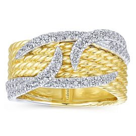 14kt-Yellow-And-White-Gold Diamond Cable 6 Row Twisted-Ladies-Ring_LR51309M45JJ