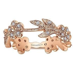 14kt-Rose-Gold-.16ctw Diamond-Flower & Leaf-Stackable-Ladies-Ring_Band-LR4251K45JJ