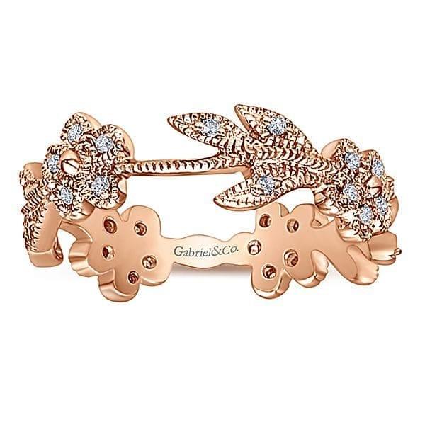 14kt-Rose-Gold-.16ctw Diamond-Flower & Leaf-Stackable-Ladies-Ring_Band-LR4251K45JJ