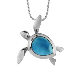 Sterling Silver Rhodium Finish Larimar Turtle Pendant