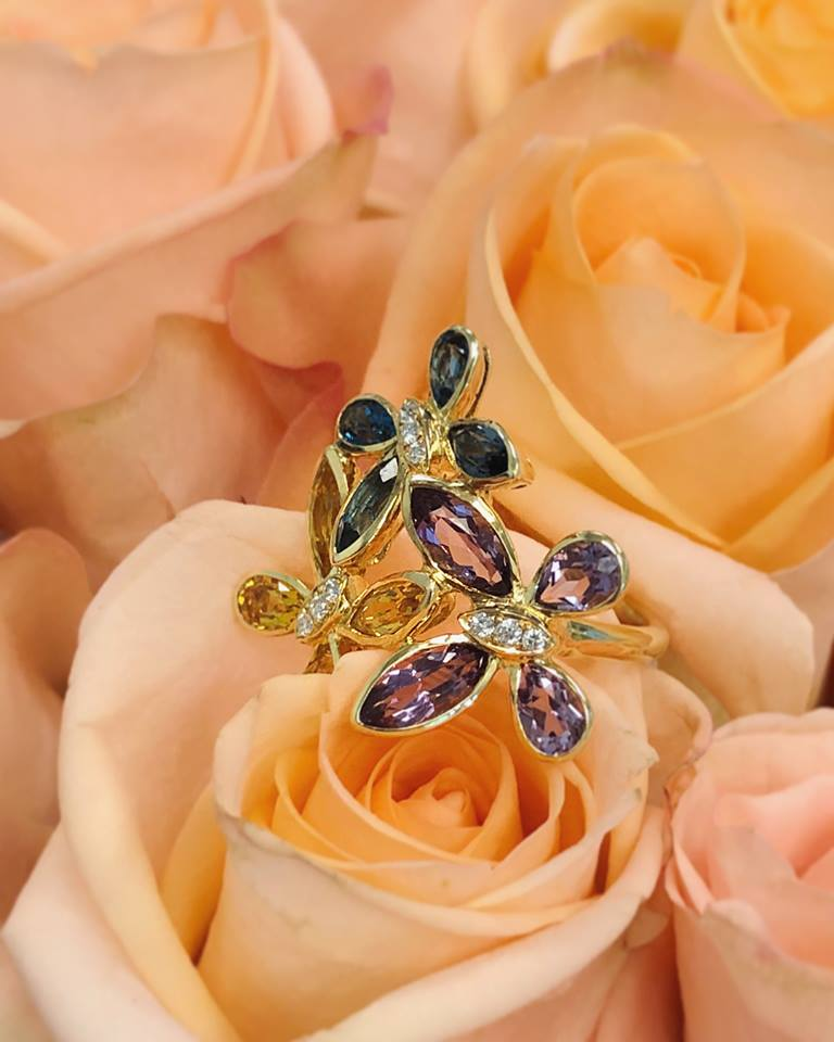 23000-18kt yellow gold amethyst 1.10ctw-blue topaz & citrine .86ctw-& diamond .08ctw ring-2