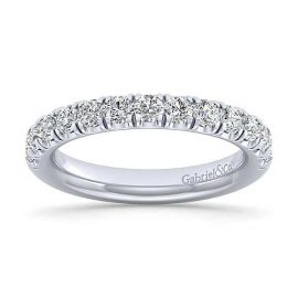 23076-Gabriel-14k-White-Gold-Diamond 1.06ctw 13-Stone-French-Pav-Set-Anniversary-Band-_AN14169W44JJ