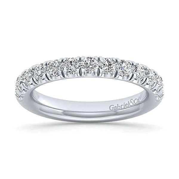 23076-Gabriel-14k-White-Gold-Diamond 1.06ctw 13-Stone-French-Pav-Set-Anniversary-Band-_AN14169W44JJ