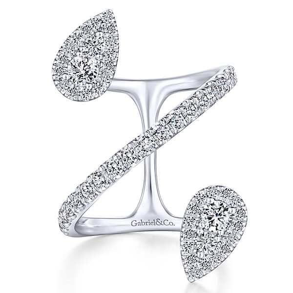 23096-Gabriel-14k-White-Gold-Double Tear Drop Shape-Diamond 1.40ctw-Kaslique-Fashion-Ladies-Ring_LR51327W45JJ