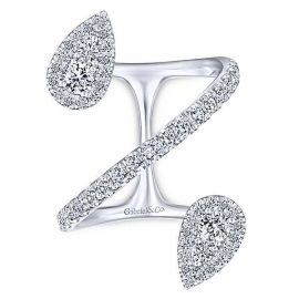 23096-Gabriel-14k-White-Gold-Double Tear Drop Shape-Diamond 1.40ctw-Kaslique-Fashion-Ladies-Ring_LR51327W45JJ