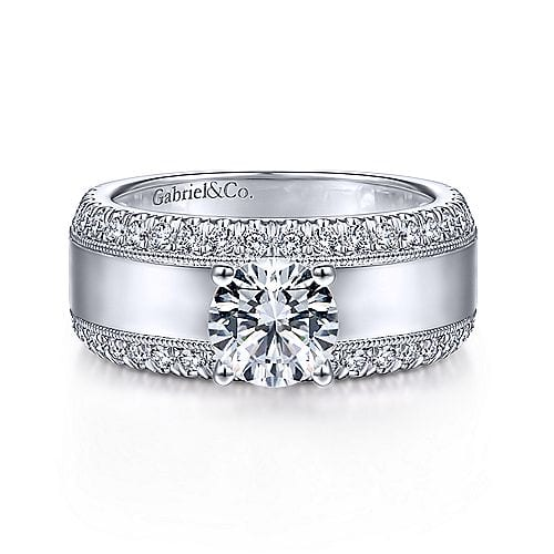23064-diamond .72ctw two rows of diamonds polished center Gabriel-14k-White-Gold-Round-Straight-Engagement-Ring--Amos_ER14611R4W44JJ-1