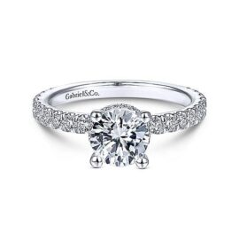 diamond engagement ring with hidden halo and diamond shank