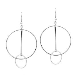 24481-sterlingsilverearringswithlargehoopcirclebar&1smalldiamondcutcircle-5V825S