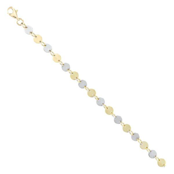 24501-14ktwhitegold&yellowgold5mmpolisheddisklinkbracelet1T116X