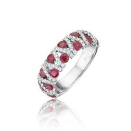 ruby and diamond vertical weave style band