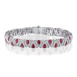 gold ruby & diamond vertical weave bracelet