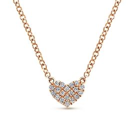 24671-gabriel-14kt rose gold pave set diamond .07ctw heart pendant-NK5450K45JJ
