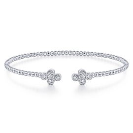24616-Gabriel-14K-White-Gold-Diamond .40ctw Double Clover Fashion-Bangle_BG4124-65W45JJ-1