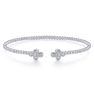 24616-Gabriel-14K-White-Gold-Diamond .40ctw Double Clover Fashion-Bangle_BG4124-65W45JJ-1