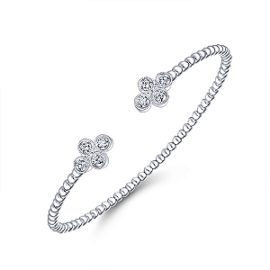 24616-Gabriel-14K-White-Gold-Diamond .40ctw Double Clover Fashion-Bangle_BG4124-65W45JJ-2