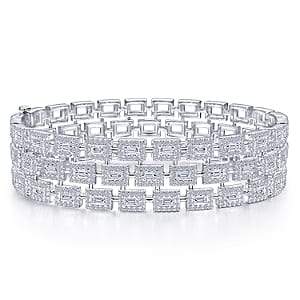 24633-triple row round brilliant cut & straight baguette diamond bracelet Gabriel-14K-White-Gold-Fashion-Bangle_BG4329-65W44JJ-1