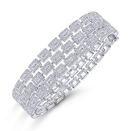 24633-triple row round brilliant cut & straight baguette diamond braceletGabriel-14K-White-Gold-Fashion-Bangle_BG4329-65W44JJ-2