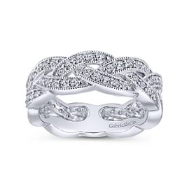 24666- diamond .51ctw braided band Gabriel-14K-White-Gold-Fashion-Ladies-Ring_LR5673W45JJ