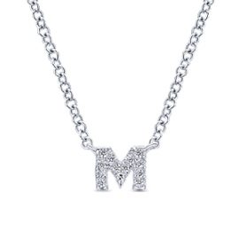 24674-gabriel-14kt white gold diamond .05ctw letter 'm' necklace-NK4577M-W45JJ