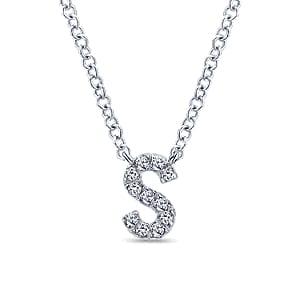 24676-gabriel-14kt white gold diamond .07ctw letter 's' necklace-NK4577S-W45JJ