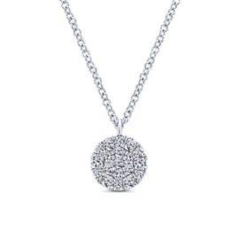 24672-gabriel-14kt white gold diamond .24ctw pave set round disc necklace-NK5333W45JJ