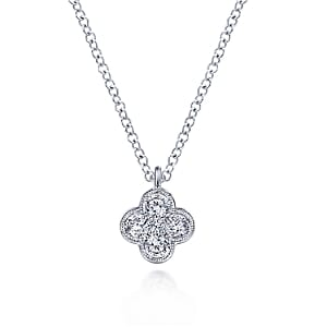 24683-gabriel-14kt white gold diamond .24ctw clover necklace-NK6082W45JJ