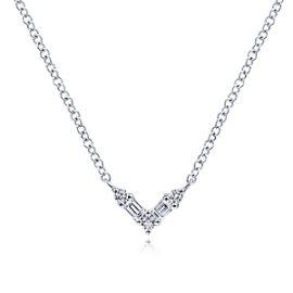 24673 - gabriel - 14kt white gold diamond .04ctw baguette & round diamond .08ctw V necklace - NK6128W44JJ